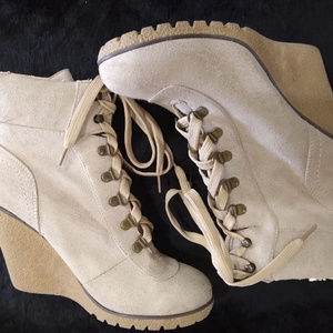 XOXO | Beige Faux Suede Lace Wedges Size 8